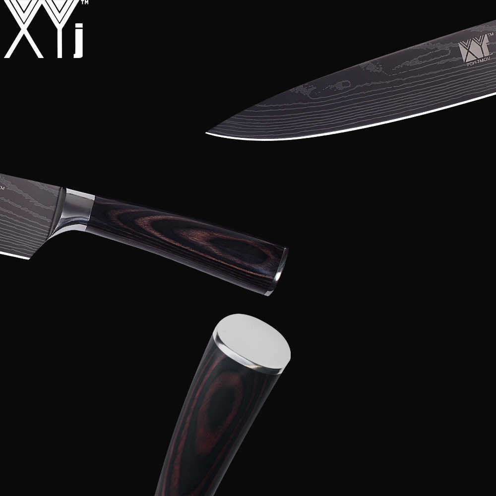 XYj Stainless Steel Knife 3.5 5 7 8 inch Beauty Pattern High Carbon Blade Knives Fish Meat Vegetable Fruit Cooking Accessories