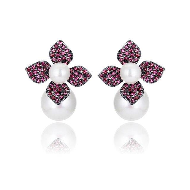 XIUMEIYIZU Luxury Colorful Red/Blue/Yellow/Green Cubic Zirconia Flower Shape Shell Pearl Stud Earrings