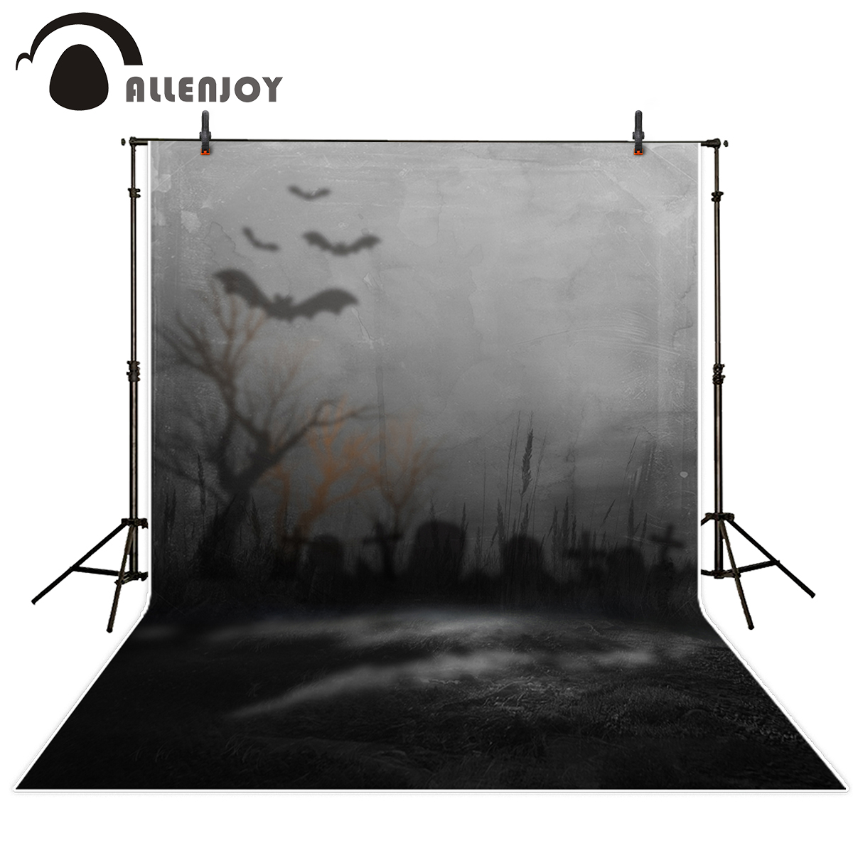 Allenjoy photography background dark blurry cemetery bat dead wood Halloween theme backdrop professional photo background studio charlaine harris dead until dark