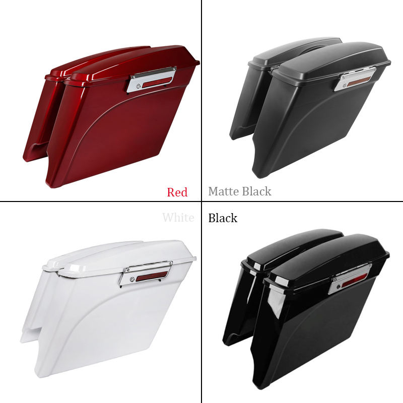 Motorcycle ABS Hard Saddlebags White Red Black 5 Stretched Extended Saddle Bags + Lids For Harley Touring FLHX FLH 1993 - 2013