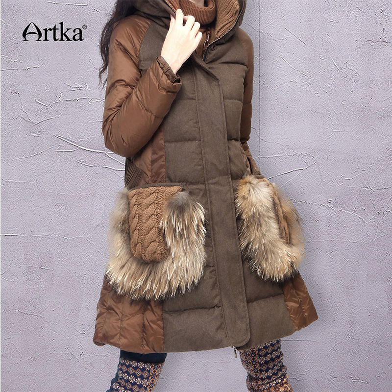 ARTKA Winter Parka Women Down Jacket With Adjusted Belt Patchwork Windbreaker Female Raincoat 2018 Fur Parka