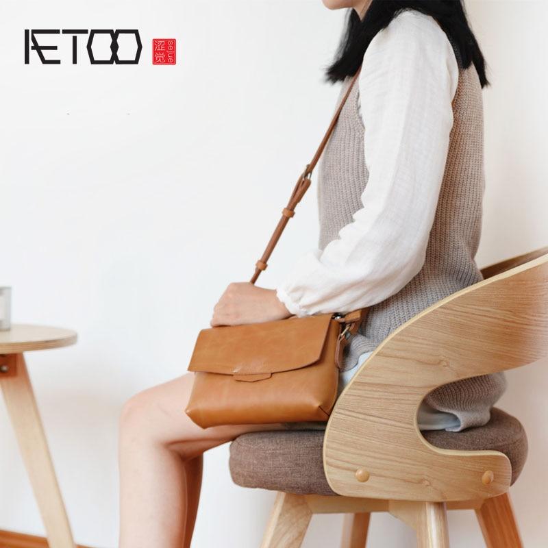 AETOO Original handmade split leather girl envelope bag female shoulder bag Japanese mini Messenger bag retro pouch flap