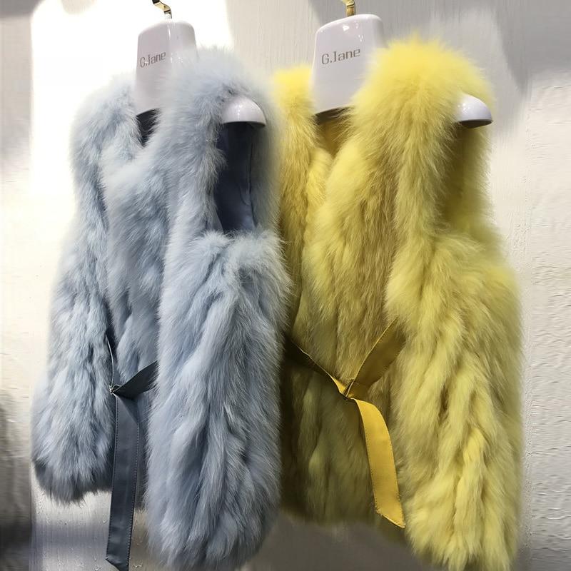 Kahki Culture Naturel Fourrure De beige Zdfurs Nouvelle pink Station blue Européenne Style yellow Chaude Véritable 2018 Renard Gilet Hiver ww6vgAq