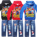 spring/autumn Patrol Children Girls Boys Cartoon sets Costume Clothing set for Kids Clothes Girls longsleeve coats +jeans pants