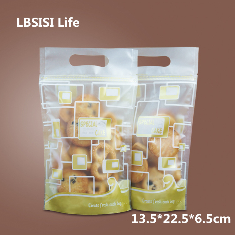 LBSISI Life 50pcs Food Zipier Bag Grid Candy Cookie Plastic Gift Packaging Bags Cactus Hand Hold Biscuits Wedding Decoration