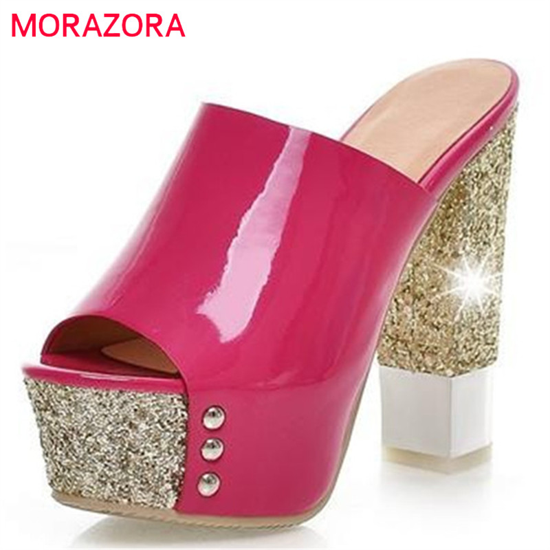 MORAZORA New fashion women shoes high heels sexy platform sandals gold red yellow prom shoes woman peep toe morazora women sandals fashion high heels shoes sexy leopard platform shoes causal slippers hot sale eur size 34 39