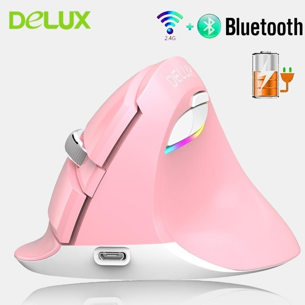 Souris verticale sans fil 2.4G + Bluetooth 4.0 Delux M618 souris de jeu rvb Rechargeable souris ergonomique 2400 DPI pour PC portable