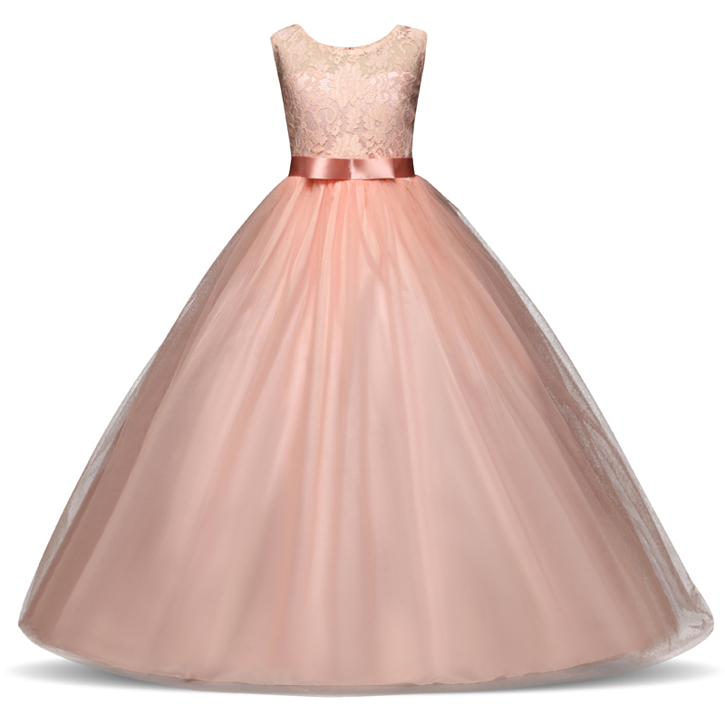Lace Flower Girl Dresses For Wedding Party Tulle First Communion Dress Teenage Girl Children Graduation Gown Kids Clothes 12 14