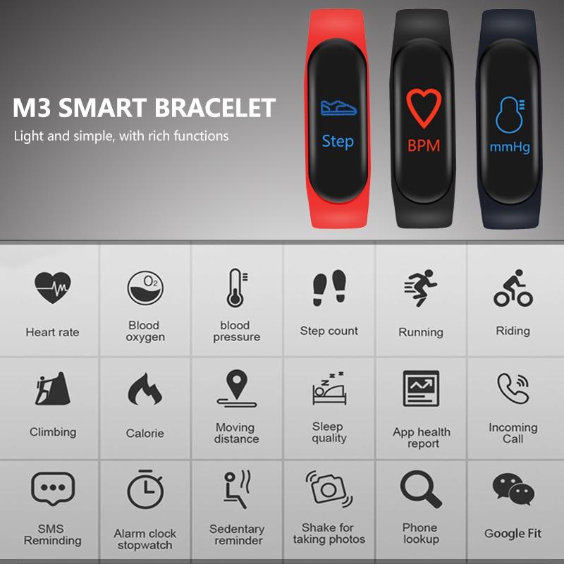 Image 5 - M3 Smart Band Sport Bracelet Fitness Tracker reloj inteligente Wristband Monitor 0.96 inch Heart Rate Monitor Smart band-in Smart Wristbands from Consumer Electronics