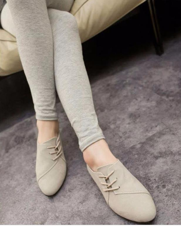2017 New Spring Casual Women Shoes Women Nubuck Leather lace-Up Flat Shoes Handsome Head Toe Shoes
