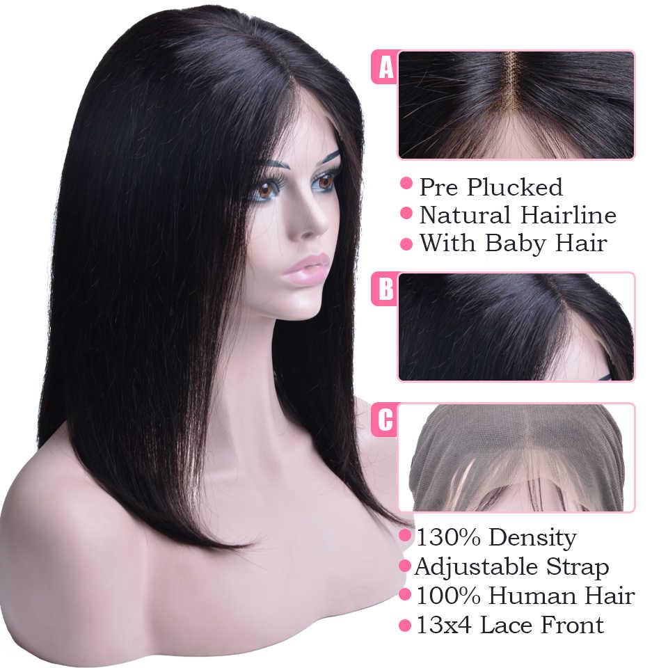 Короткий Боб Синтетические волосы на кружеве человеческих волос парики для черный Для женщин Волосы remy прямые Полный конец Синтетические волосы на кружеве парики с ребенком волос естественной Цвет