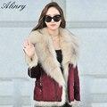 2017 winter new women cotton Jacket coat female fashion big Imitation fox fur plus size Slim warm soft Red wine Suede Jacket