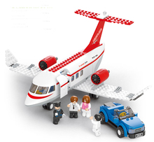 2018 New 0365 City Airport Red Airplane Building Bricks Blocks Sets Christmas Gifts Toy Compatible with Lepine planes technic