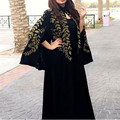 Preto bordado Mulheres Vestido Formal Com Bolero Vestido de Noite Árabe Dubai Abaya Dois Vestidos Pedaço de Baile Vestido Longo Vestido de Festa