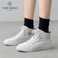 VAIR MUDO Women Canvas Shoes Top Handmade Four Seasons Casual flat shoes Genuine Leather Lace Up Round Toe women shoes D17L