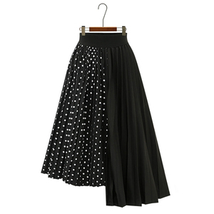 Image 5 - Wypróbuj drzewo lato jesień kobiety Dot spódnica na co dzień poliester szyfon asymetria plisowana spódnica z rozciągliwą talią moda spódnice plus size