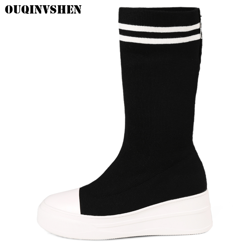 OUQINVSHEN Pointed Toe Flat With Women Boots Casual Fashion Ladies Knitting Wool Black Ankle Boots Winter Women's Boots Shoes ladies flat shoes fashion women flats ankle strap pointed toe flat shoes casual ladies loafers black shoes zapatos de mujer