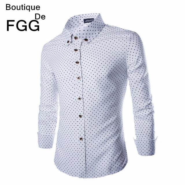 Новые Поступления Звезды Dot Печати С Длинным Рукавом Рубашки Платья Slim Fit Однобортный Белый Повседневная Рубашка Известная Марка Camisa Hombre