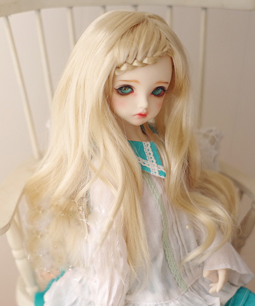 BJD Doll Wigs Light Golden Imitation Mohair Whip Long Curly Hair Wigs For 1/3 1/4 1/8 BJD DD SD MSD Doll Wigs