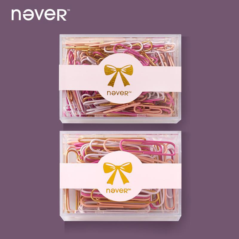 Never Color Gold Metal Paper Clip Kawaii Paperclips Fashion Office Accessories Clips Document Creative-gifts For Dokibook Diary never valentine s day theme metal binder clips paper kawaii pink clip bookmark memo holder office accessories stationery store
