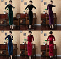 Shanghai Story exquisite China Style Cheongsam dress,women fashion autumn Embroidery winter dress velvet dress qipao T0001