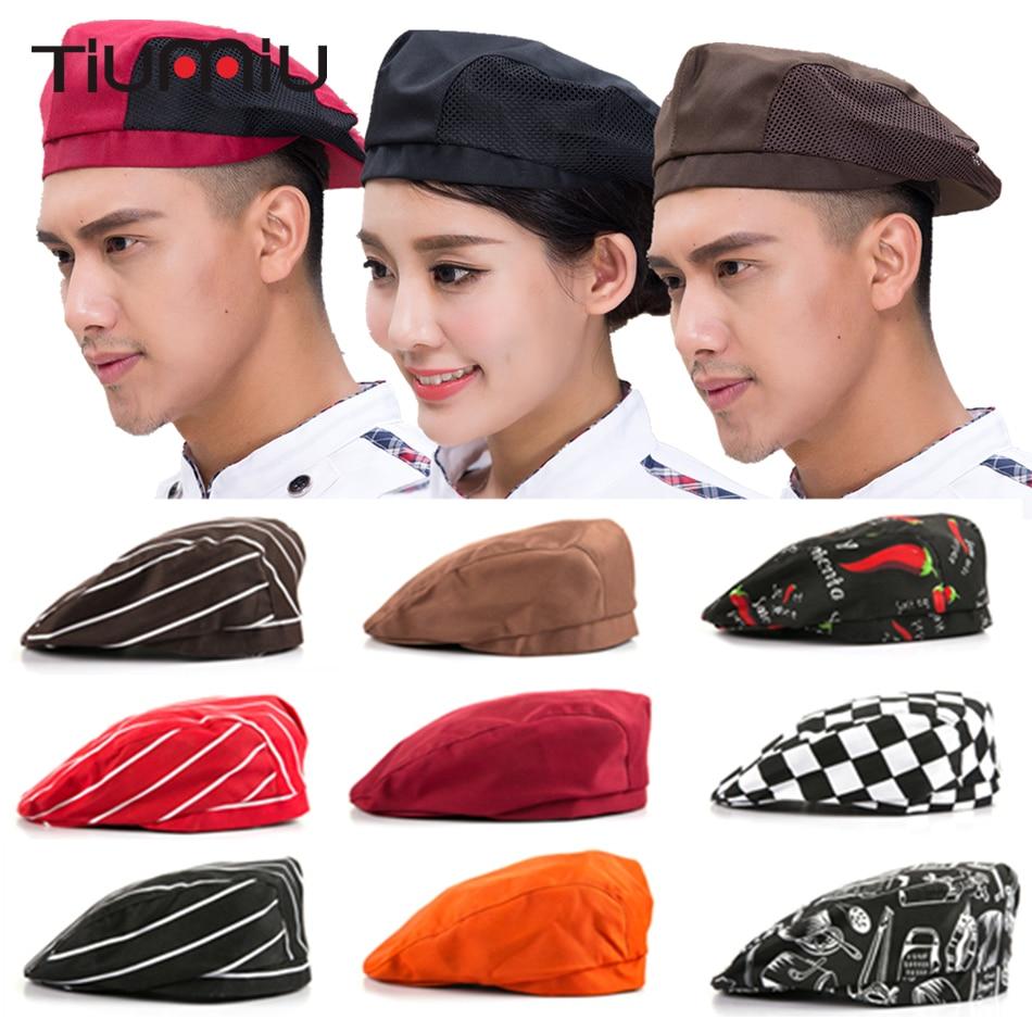 Hot Sale Chef Hats Cafe Bar Waiter Beret Restaurant Hotel Workwear Kitchen Cook Baking Cap Men Women Breathable Mesh Forward Cap