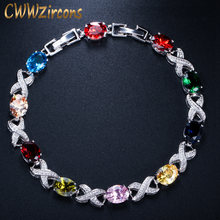 CWWZircons Classic Silver Color MultiColored Austrian Crystal Charm Bracelets for Wedding Bridesmaid Gift Jewelry CB079(China)