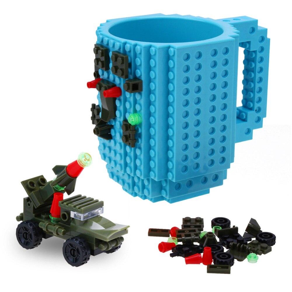 1 Stücke Bauen eine Ziegel Becher Bausteine Kaffeetassen Build-Auf Ziegel tasse Gefrorene Kaffeetasse DIY Block Puzzle Lego Becher 12 unze 350 ml