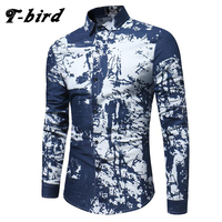 T Bird Shirt Men Printing Plaid Shirt Long Sleeves Dress Casual Mens Shirt Camisa Masculina 2017