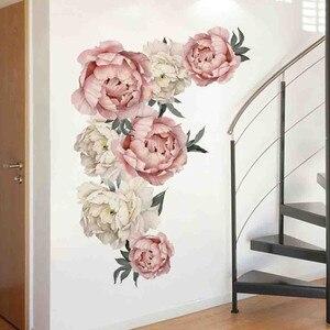 Image 5 - Peony Rose Flowers Wall Sticker Art Nursery Decals Kids Room Home Decor Gift muurstickers voor kinderen kamers decals