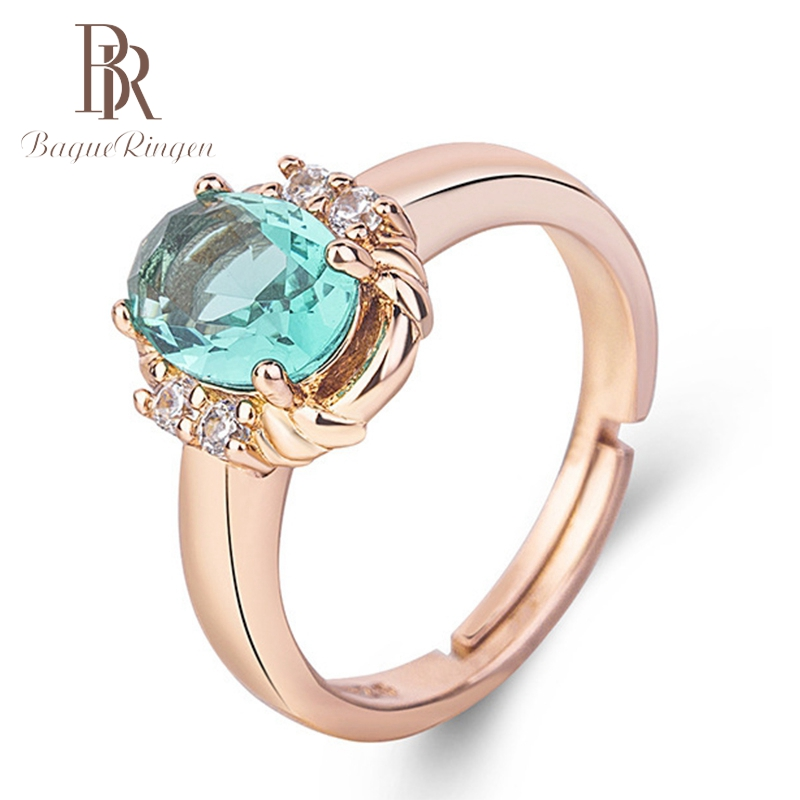 Bague Ringen Women's Rings 925 Sterling Silver Jewelry Ring  Red Emerald Green Purple Zircon Ring Engagement Jewelry For Wedding