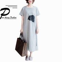 Элегантный Негабаритных Изделие из хлопка с короткими рукавами средней длины джемпер женские летние свободные корейский сзади Разделение Платье-туника