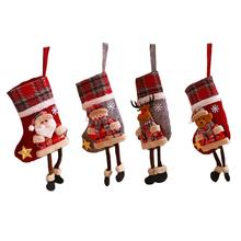 Christmas Stockings Santa Claus Sock Cartoon Printing Burlap Gift Holders Xmas Party Decors