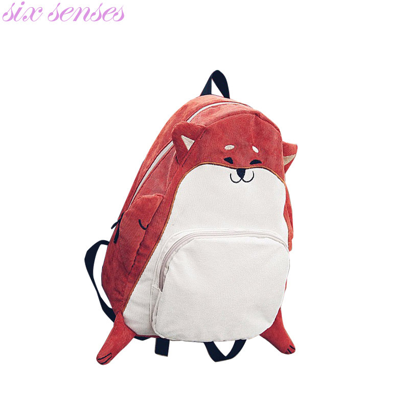 Six senses Women Canvas Backpacks cute animal print girls school bags casual backpack mochila fox cartoon cute women bag,CJ0139 new brand 2015 women girls school bag rivets camouflage backpack cute canvas