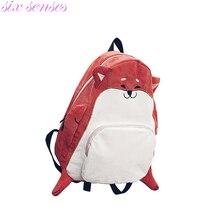 Six senses Женщины Холст Рюкзаки симпатичные животные печати девушки школьные сумки случайные рюкзак mochila лиса мультфильм милые женщины сумку, CJ0139