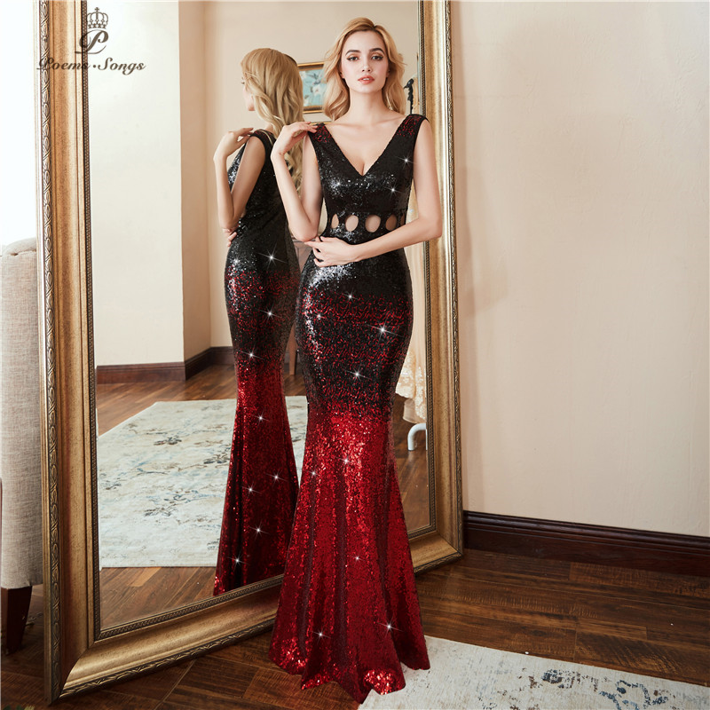 Poems Songs 2019  Hollow Evening Dress Prom Gowns  Vestido De Festa Luxury Red Black Long Sequin Formal Party Dress