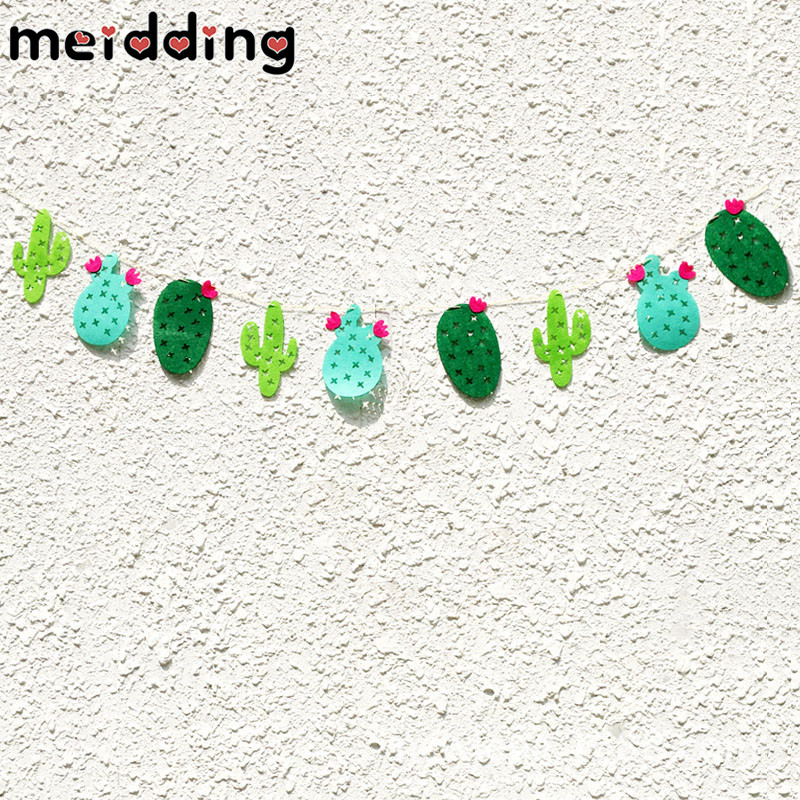 MEIDDING 9pcs Non-woven Fabrics Cactus Garland Banner Bunting Garland Hawaii Party Favor Home Decor Swimming Pool Party Supplies