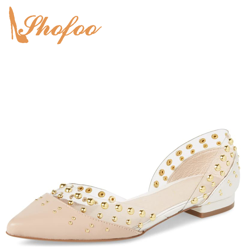 D'orsay Pink Rivets PVC Closed Pointed Toe Shallow Flat Woman Large Size 11 16 For Ladies Summer Dress Clear Shoes Fashion Sweet