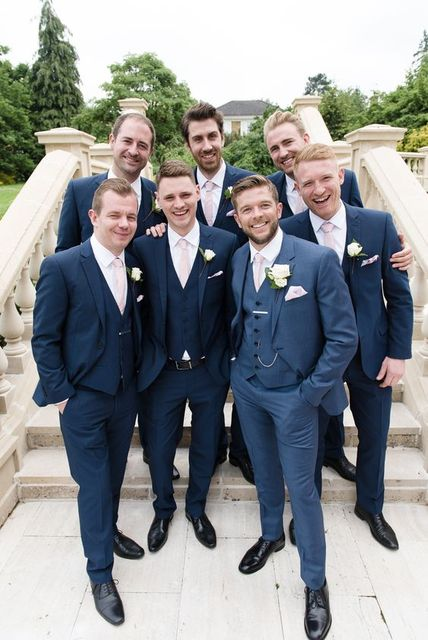 2017 Latest Coat Pant Design Navy Blue Wedding Suits For Men Groomsmen Suit Slim Fit 3