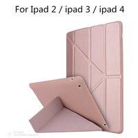 Case For Apple IPad2 Ipad3 Ipad4 Fashion PU Leather Soft TPU Back Ultra Slim Light Weight