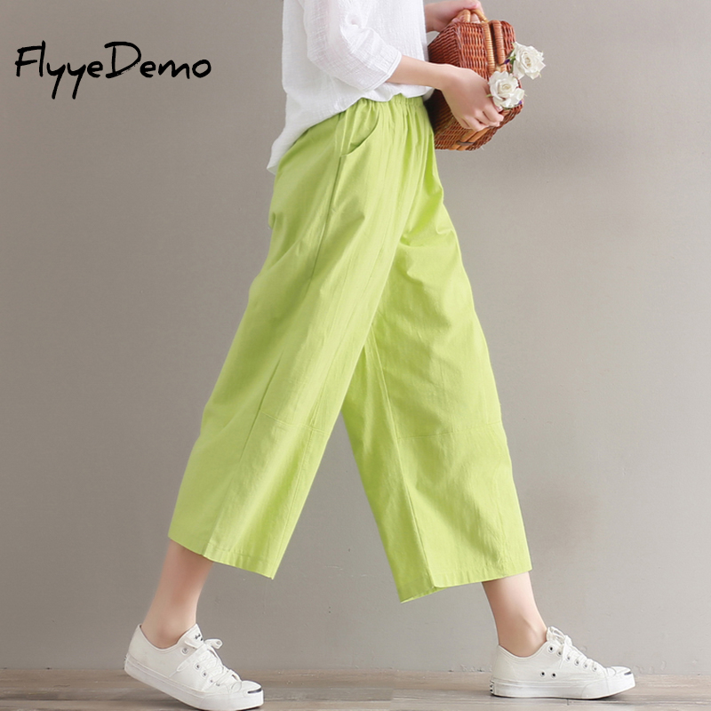 Cotton Linen   Pants   Elastic Waist   Wide     Leg     Pants   Casual Ankle Length   Pants   2019 New Top Straight   Pants   Loose Trousers Green Brown