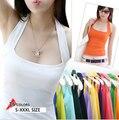 Novas mulheres Halter Neck Bainha magro vest camis sensuais cores Doces macios camisa de algodão tops vestuário sem mangas para a menina