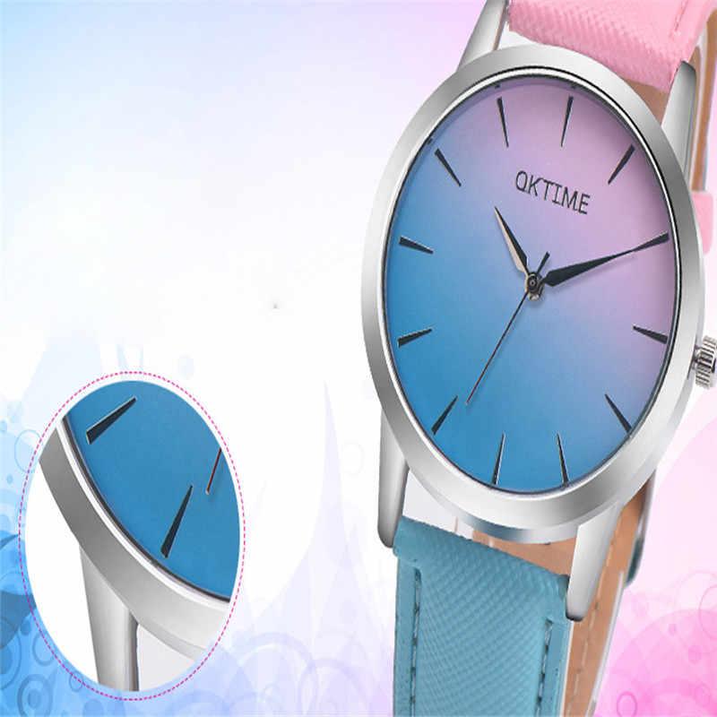 גבירותיי שעונים למעלה מותג 2019 חדש הגעה אופנה פשוט רטרו קשת עיצוב רצועת עור אנלוגי סגסוגת קוורץ שעון יד 30X