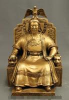 S02328 16 Династия Китайский Бронзовый луга King tercel Чингисхан Дракон сиденье статуя (B0413)