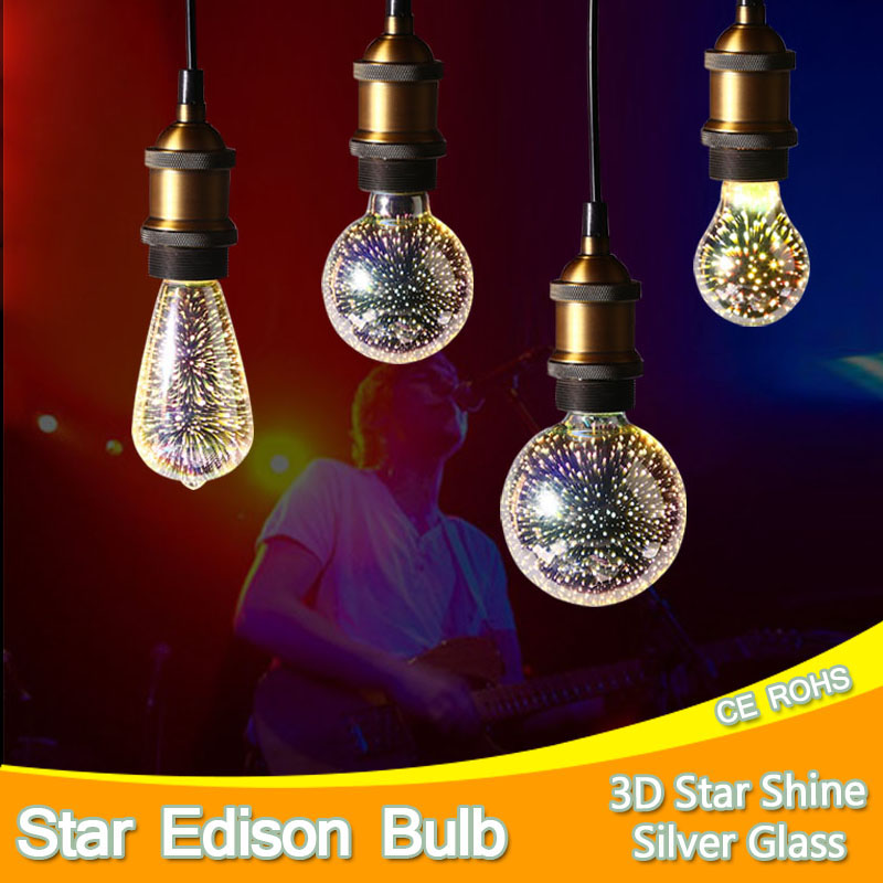 Led Light Bulb Edison 3D Decoration Silver Holiday Christmas Decoration Night Bar Glass LED Lamp 3w 5w Candle Lamparas Bombillas keyshare dual bulb night vision led light kit for remote control drones