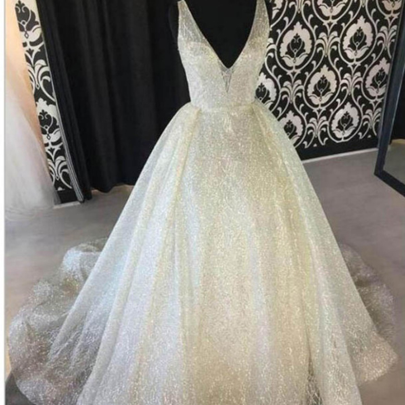 U-SWEAR A Line V-Neck Backless Sleeveless Sequins White Elegant   Evening     Dresses   Long Prom Party Formal Gown   Dress   Robe Ceremonie