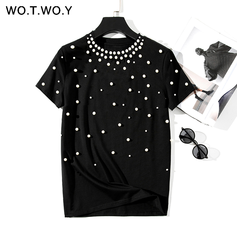 WOTWOY 2020 Summer New Pearls Beaded T-Shirt Women Cotton Loose Casual Tops Women Short Sleeve O-Neck T Shirt Black High Quality