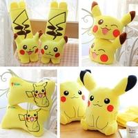 Candice guo! plush toy cute cartoon animal Pikachu cushion hand warm blanket neck pillow seat belt birthday Christmas gift 1pc