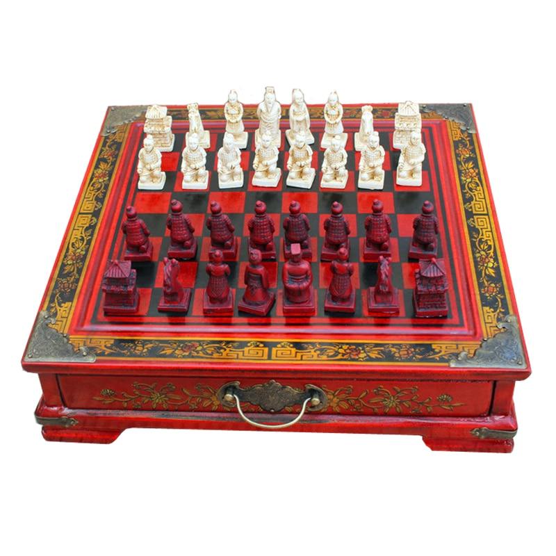 BSTFAMLY wood chess set, Terra Cotta Warriors international chess, 27*27*6.5cm box chessboard king height 40mm chess game, LA52 chess and mathematical thinking