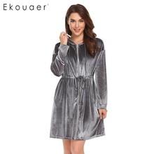 Ekouaer Women Robe Kimono Long Sleeve Velvet Hooded Solid Bathrobes Nighties Sleepwear Robe Dressing Gown Female Nightwear
